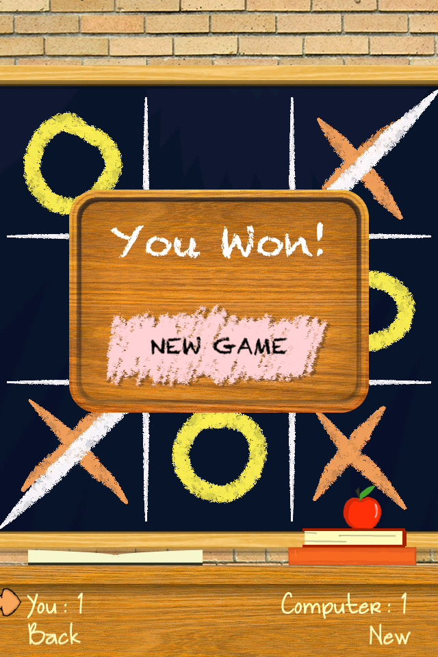 Screenshot Tic Tac Toe Draw PRO – Challenging opponents, play by drawing on a realistic chalkboard!